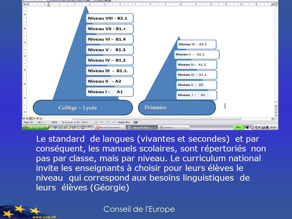 Le standard de langues (vivantes et secondes) et par conséquent, les manuels scolaires, sont répertoriés non pas par classe, mais par niveau. Le curri