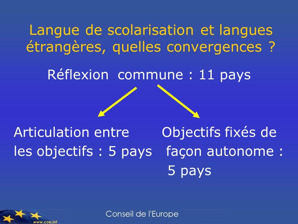 Langue de scolarisation et langues étrangères, quelles convergences ? Réflexion commune : 11 pays Articulation entre Objectifs fixés de les objectifs