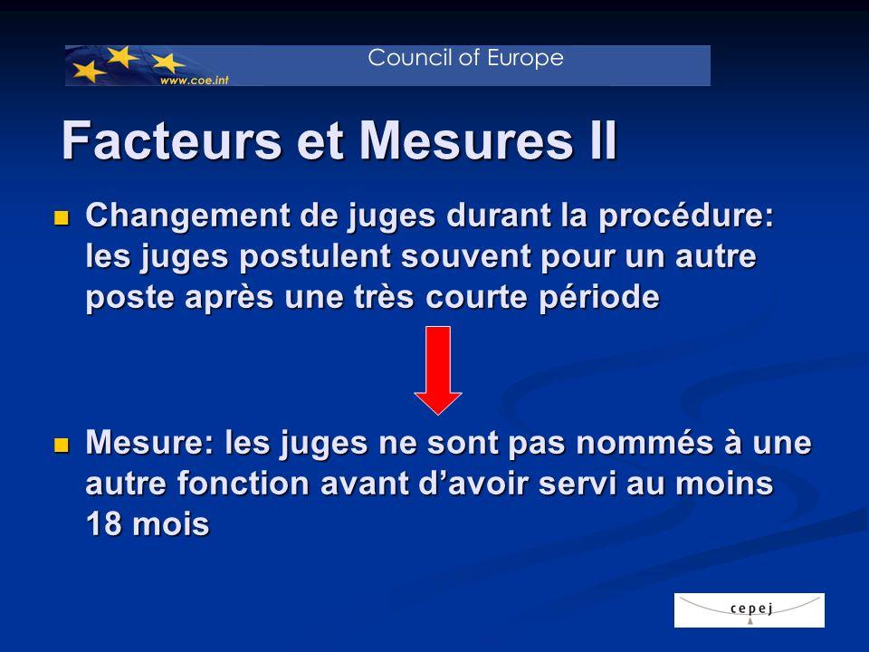 Changement de juges durant la procédure: les juges postulent souvent pour un autre poste après une très courte période Changement de juges durant la p