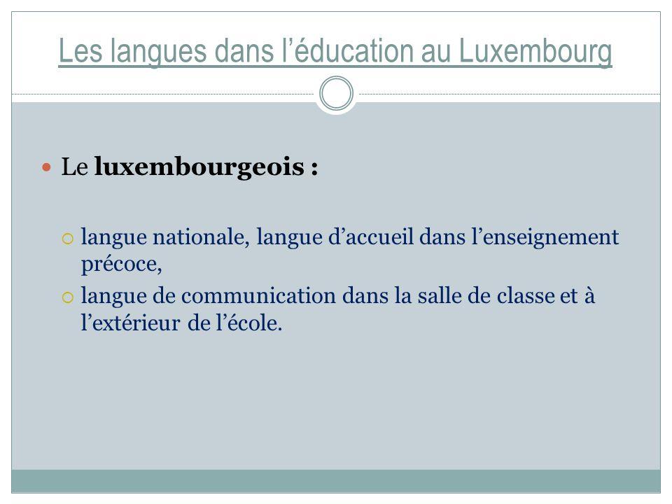 Les langues dans léducation au Luxembourg Le luxembourgeois : langue nationale, langue daccueil dans lenseignement précoce, langue de communication dans la salle de classe et à lextérieur de lécole.