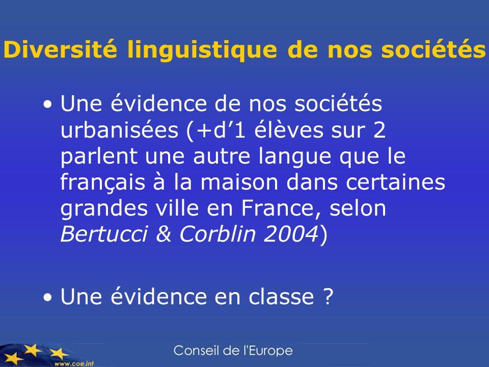 Diversité linguistique de nos sociétés Une évidence de nos sociétés urbanisées (+d1 élèves sur 2 parlent une autre langue que le français à la maison