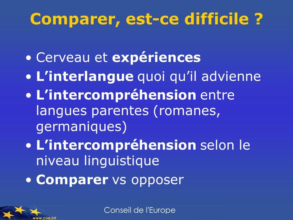 Comparer, est-ce difficile ? Cerveau et expériences Linterlangue quoi quil advienne Lintercompréhension entre langues parentes (romanes, germaniques)