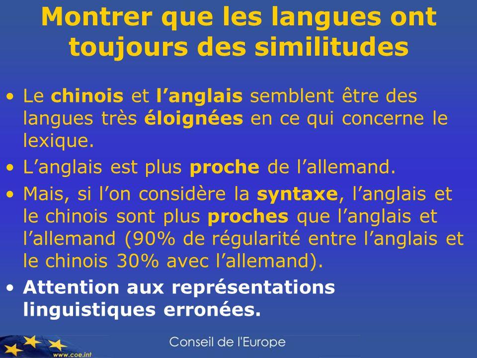 Montrer que les langues ont toujours des similitudes Le chinois et langlais semblent être des langues très éloignées en ce qui concerne le lexique. La