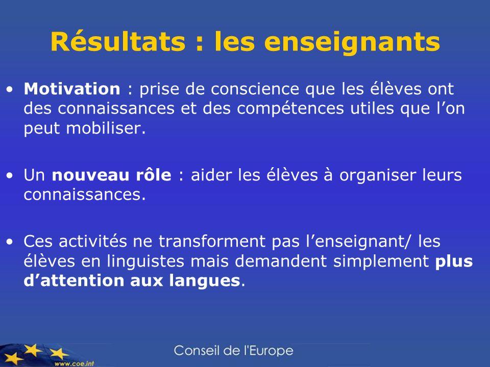 Résultats : les enseignants Motivation : prise de conscience que les élèves ont des connaissances et des compétences utiles que lon peut mobiliser. Un