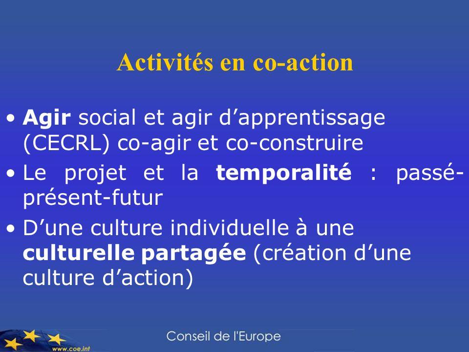 Activités en co-action Agir social et agir dapprentissage (CECRL) co-agir et co-construire Le projet et la temporalité : passé- présent-futur Dune culture individuelle à une culturelle partagée (création dune culture daction)