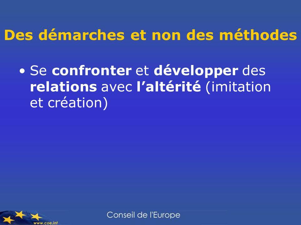 Des démarches et non des méthodes Se confronter et développer des relations avec laltérité (imitation et création)