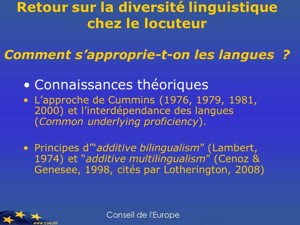 Retour sur la diversité linguistique chez le locuteur Comment sapproprie-t-on les langues ? Connaissances théoriques Lapproche de Cummins (1976, 1979,