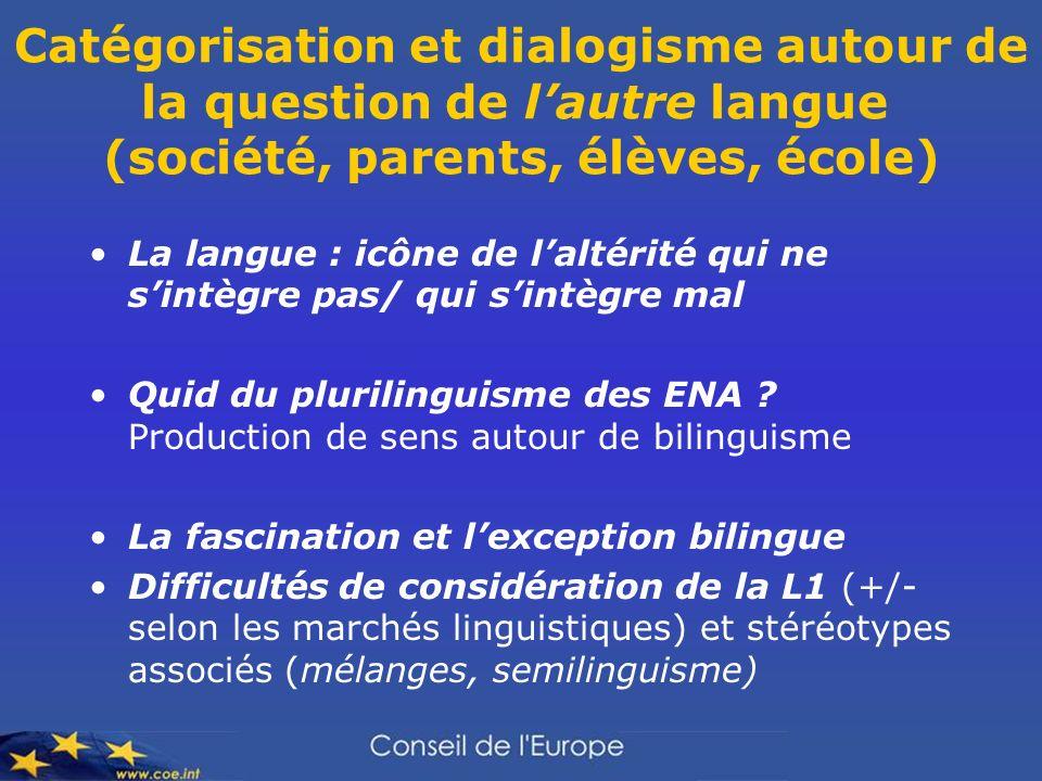 Catégorisation et dialogisme autour de la question de lautre langue (société, parents, élèves, école) La langue : icône de laltérité qui ne sintègre p