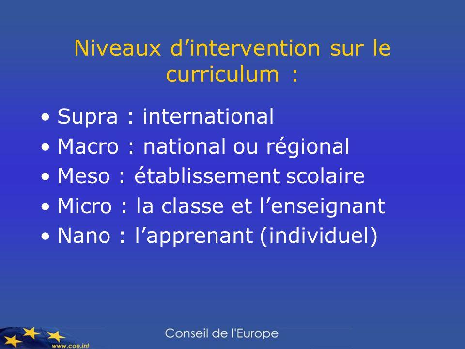 Niveaux dintervention sur le curriculum : Supra : international Macro : national ou régional Meso : établissement scolaire Micro : la classe et lensei
