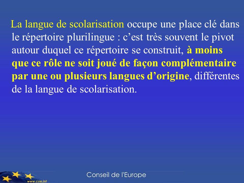La langue de scolarisation occupe une place clé dans le répertoire plurilingue : cest très souvent le pivot autour duquel ce répertoire se construit,