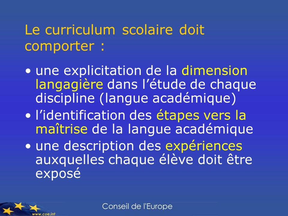 Le curriculum scolaire doit comporter : une explicitation de la dimension langagière dans létude de chaque discipline (langue académique) lidentificat