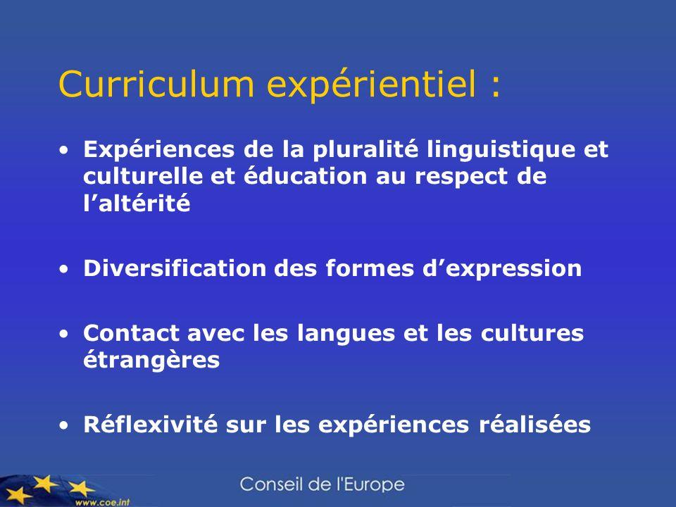 Curriculum expérientiel : Expériences de la pluralité linguistique et culturelle et éducation au respect de laltérité Diversification des formes dexpression Contact avec les langues et les cultures étrangères Réflexivité sur les expériences réalisées