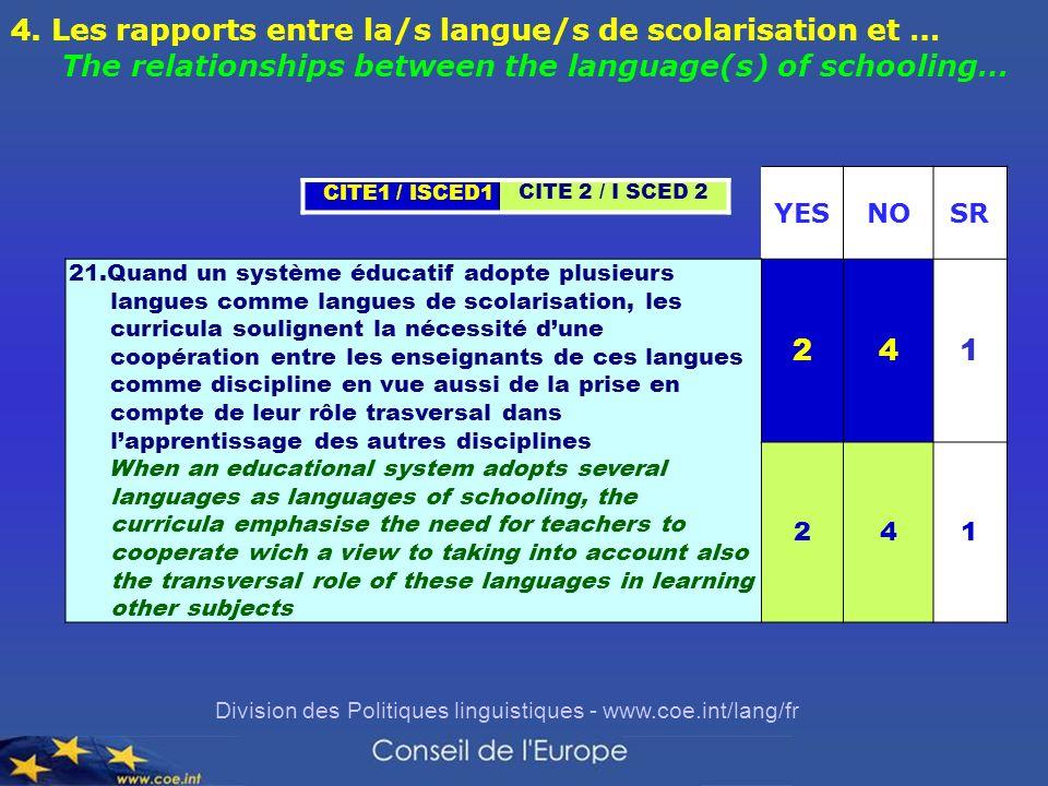 Division des Politiques linguistiques - www.coe.int/lang/fr YESNOSR 21.Quand un système éducatif adopte plusieurs langues comme langues de scolarisati