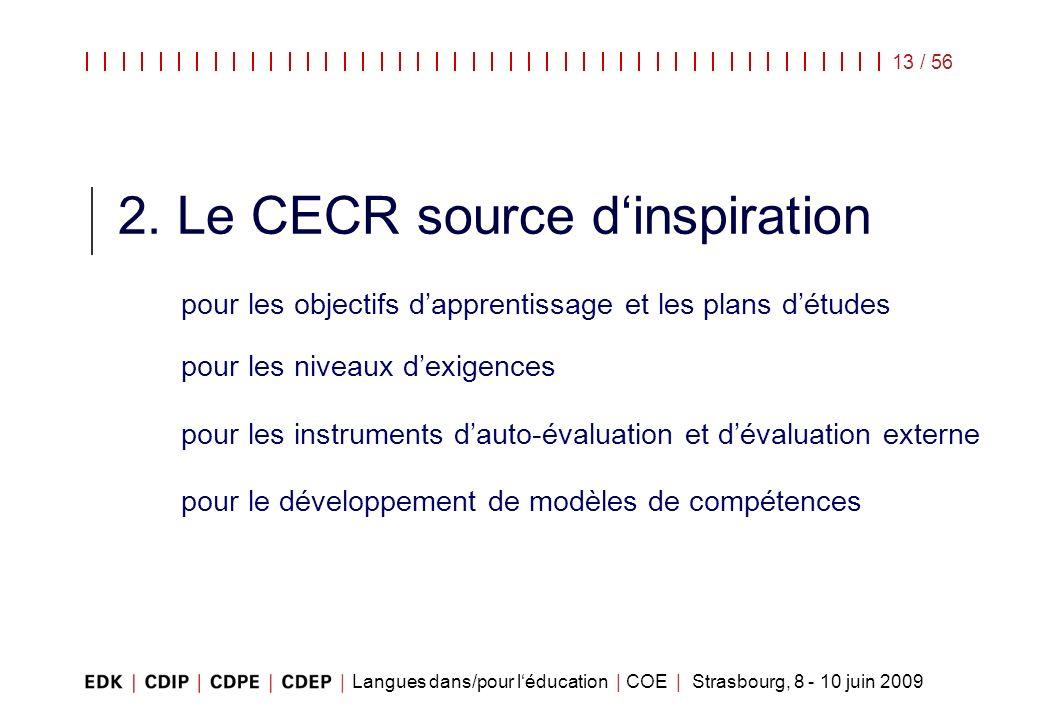 Langues dans/pour léducation | COE | Strasbourg, 8 - 10 juin 2009 13 / 56 2. Le CECR source dinspiration pour les objectifs dapprentissage et les plan