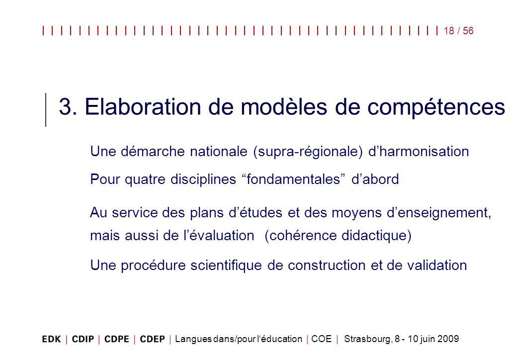 Langues dans/pour léducation | COE | Strasbourg, 8 - 10 juin 2009 18 / 56 3. Elaboration de modèles de compétences Une démarche nationale (supra-régio