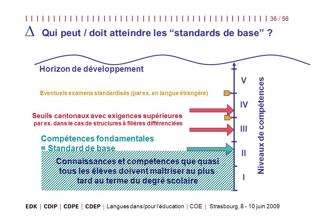 Langues dans/pour léducation | COE | Strasbourg, 8 - 10 juin 2009 36 / 56 Niveaux de compétences Seuils cantonaux avec exigences supérieures par ex. d