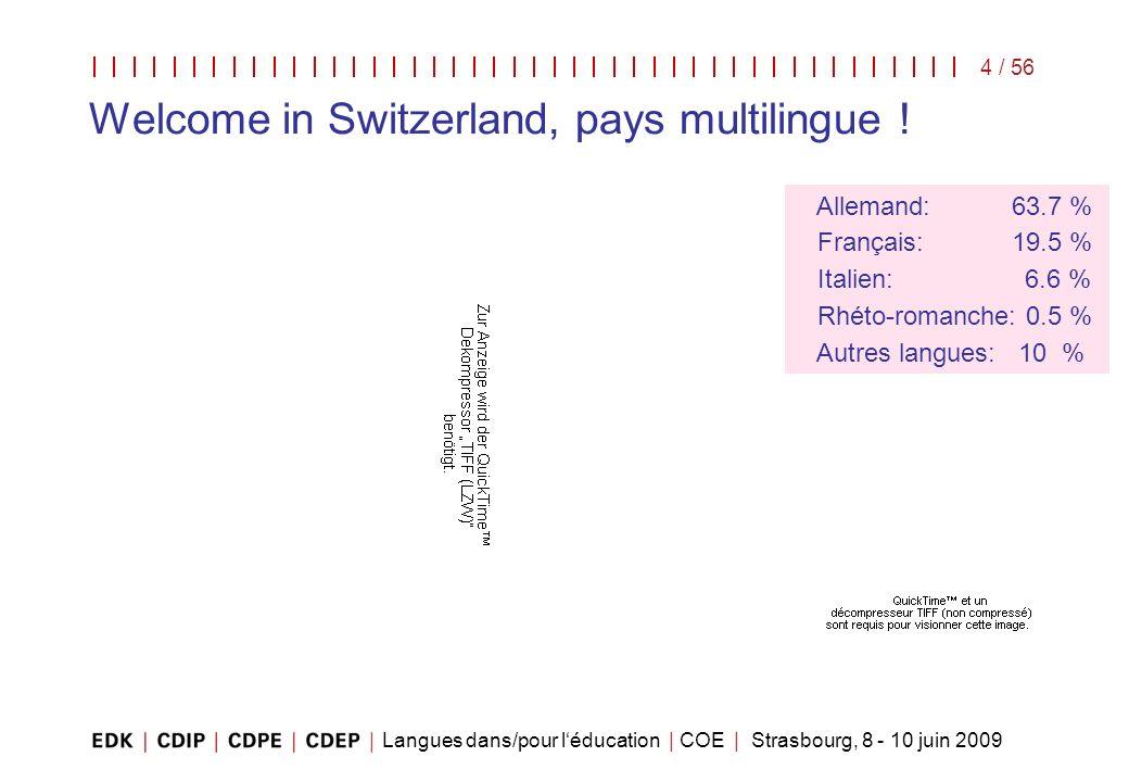 Langues dans/pour léducation | COE | Strasbourg, 8 - 10 juin 2009 4 / 56 Allemand: 63.7 % Français: 19.5 % Italien: 6.6 % Rhéto-romanche: 0.5 % Autres