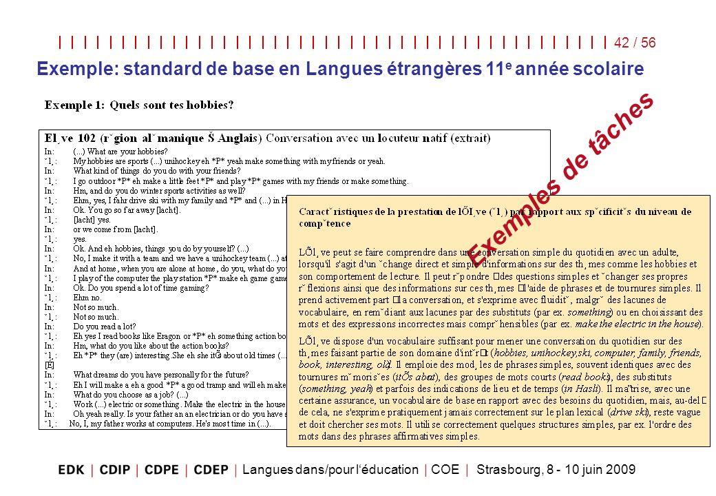 Langues dans/pour léducation | COE | Strasbourg, 8 - 10 juin 2009 42 / 56 Exemples de tâches Exemple: standard de base en Langues étrangères 11 e anné
