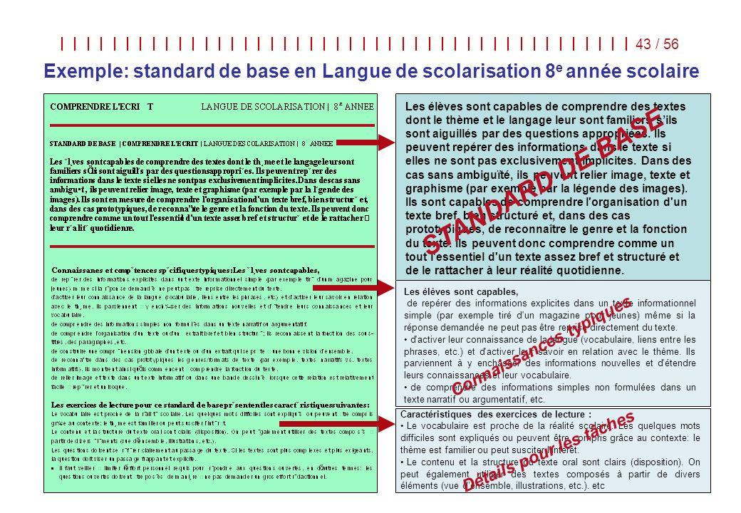 Langues dans/pour léducation | COE | Strasbourg, 8 - 10 juin 2009 43 / 56 Caractéristiques des exercices de lecture : Le vocabulaire est proche de la