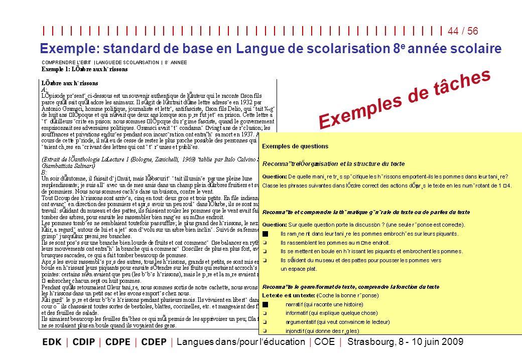 Langues dans/pour léducation | COE | Strasbourg, 8 - 10 juin 2009 44 / 56 Exemples de tâches Exemple: standard de base en Langue de scolarisation 8 e