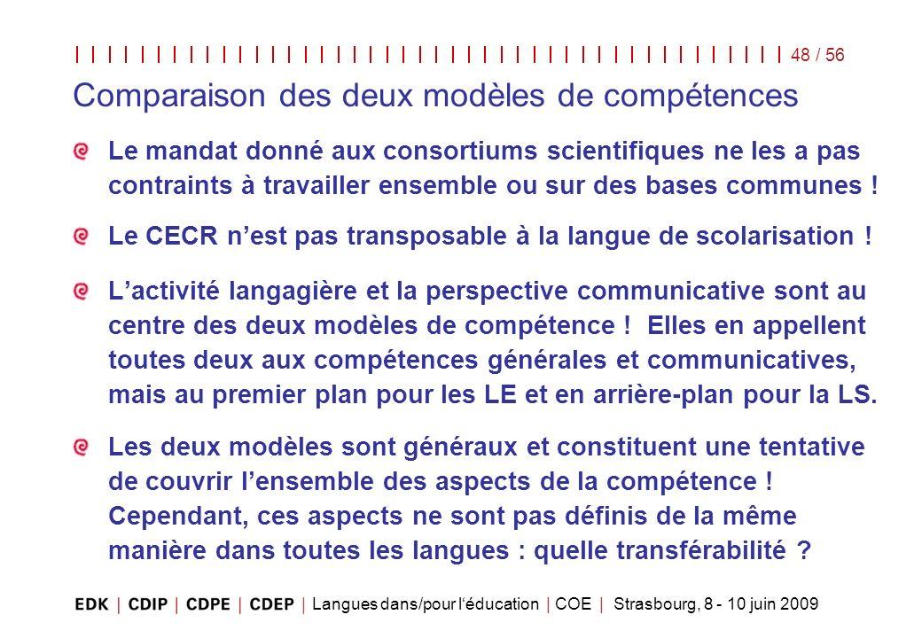 Langues dans/pour léducation | COE | Strasbourg, 8 - 10 juin 2009 48 / 56 Le mandat donné aux consortiums scientifiques ne les a pas contraints à trav
