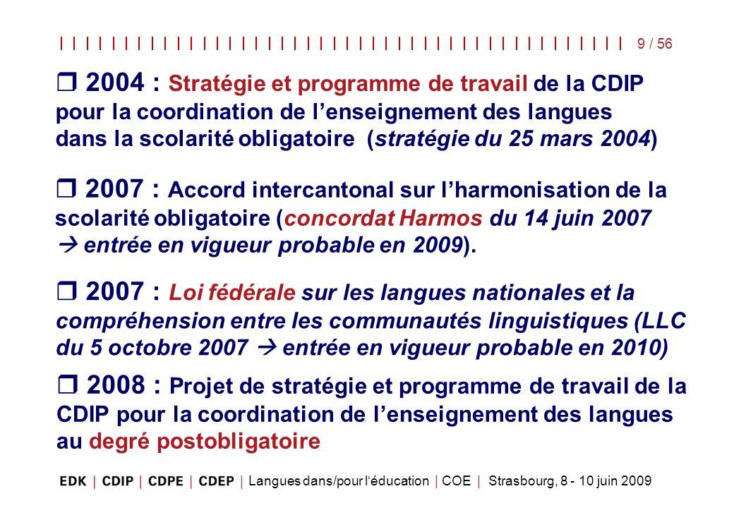 Langues dans/pour léducation | COE | Strasbourg, 8 - 10 juin 2009 9 / 56 2004 : Stratégie et programme de travail de la CDIP pour la coordination de l