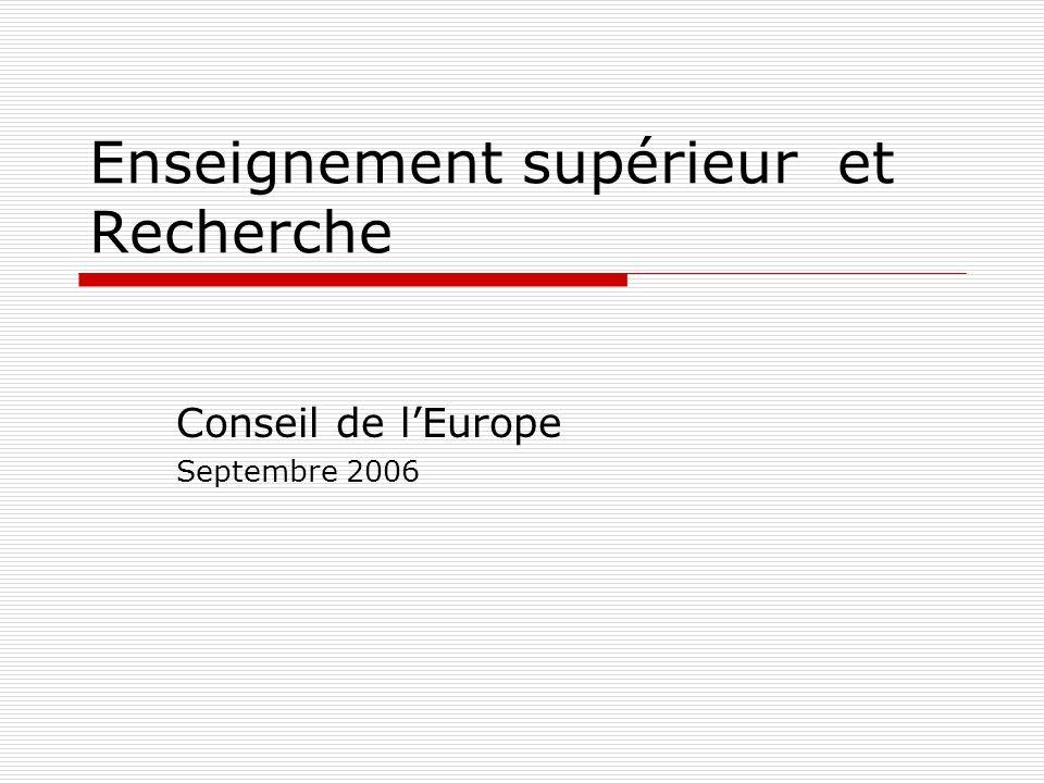 Enseignement supérieur et Recherche Conseil de lEurope Septembre 2006