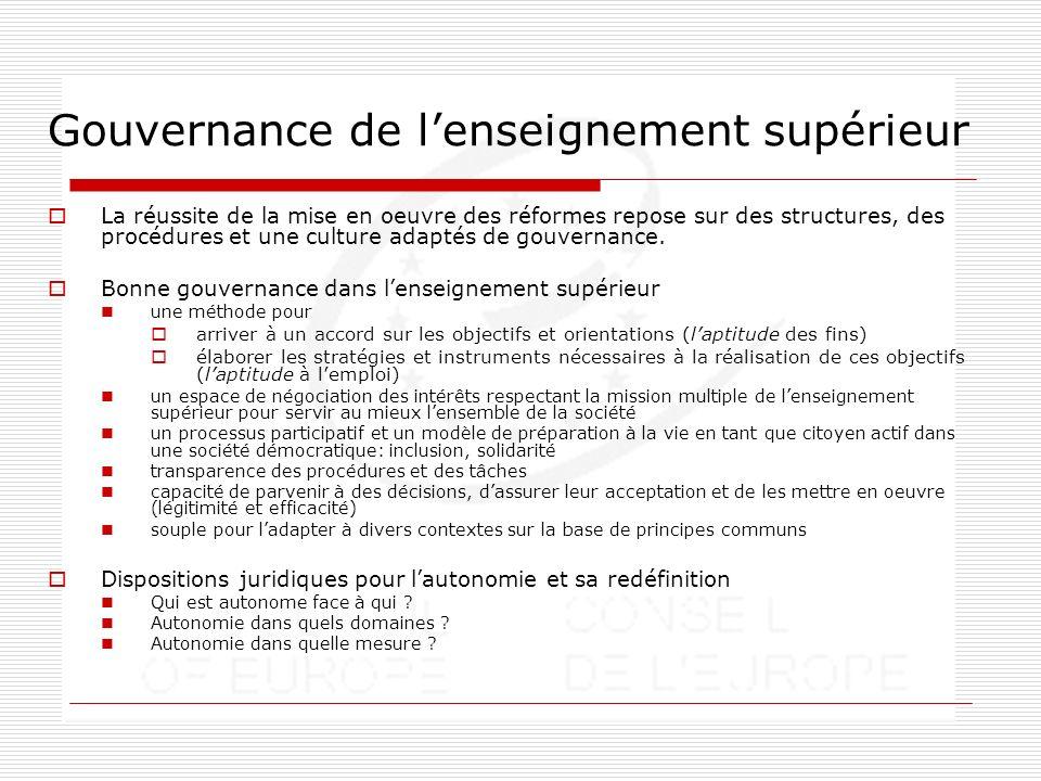 Gouvernance de lenseignement supérieur La réussite de la mise en oeuvre des réformes repose sur des structures, des procédures et une culture adaptés de gouvernance.