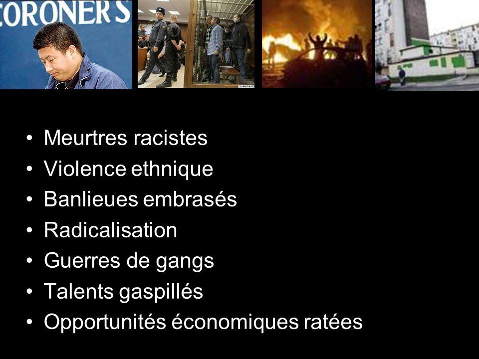 Meurtres racistes Violence ethnique Banlieues embrasés Radicalisation Guerres de gangs Talents gaspillés Opportunités économiques ratées