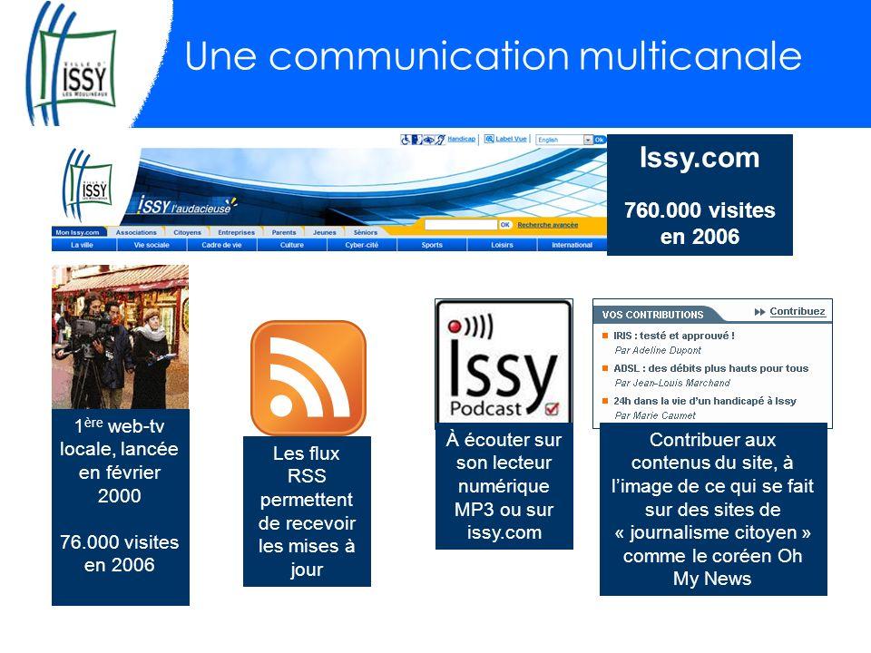 Une communication multicanale 1 ère web-tv locale, lancée en février 2000 76.000 visites en 2006 À écouter sur son lecteur numérique MP3 ou sur issy.com Les flux RSS permettent de recevoir les mises à jour Contribuer aux contenus du site, à limage de ce qui se fait sur des sites de « journalisme citoyen » comme le coréen Oh My News Issy.com 760.000 visites en 2006