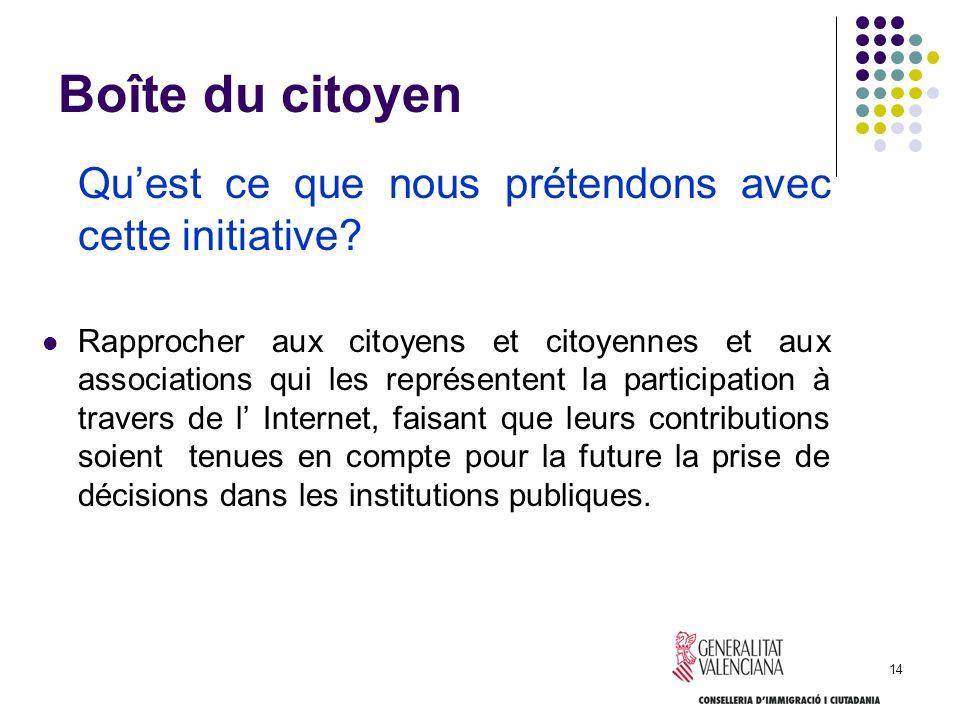 14 Boîte du citoyen Quest ce que nous prétendons avec cette initiative? Rapprocher aux citoyens et citoyennes et aux associations qui les représentent