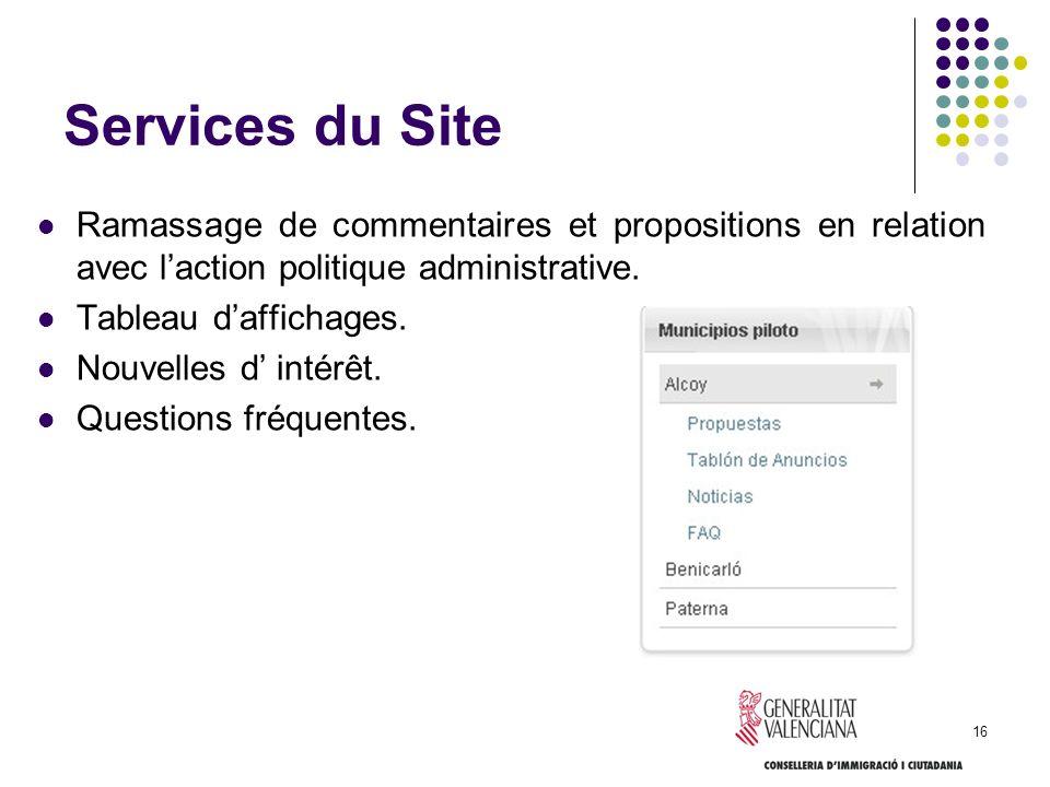 16 Services du Site Ramassage de commentaires et propositions en relation avec laction politique administrative. Tableau daffichages. Nouvelles d inté