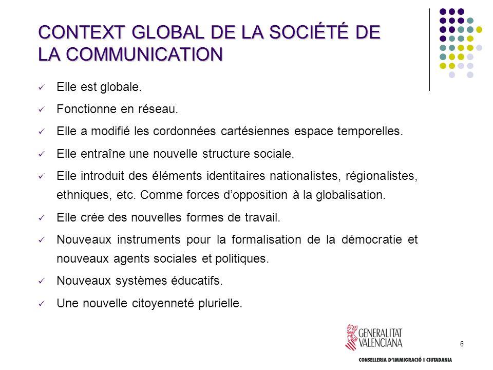 6 CONTEXT GLOBAL DE LA SOCIÉTÉ DE LA COMMUNICATION Elle est globale. Fonctionne en réseau. Elle a modifié les cordonnées cartésiennes espace temporell