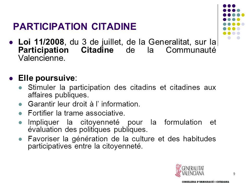 9 PARTICIPATION CITADINE Loi 11/2008, du 3 de juillet, de la Generalitat, sur la Participation Citadine de la Communauté Valencienne. Elle poursuive: