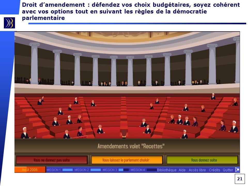 21 Droit damendement : défendez vos choix budgétaires, soyez cohérent avec vos options tout en suivant les règles de la démocratie parlementaire
