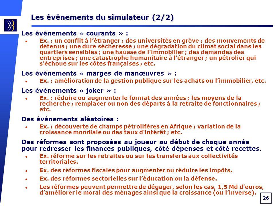 26 Les événements du simulateur (2/2) Les événements « courants » : Ex.