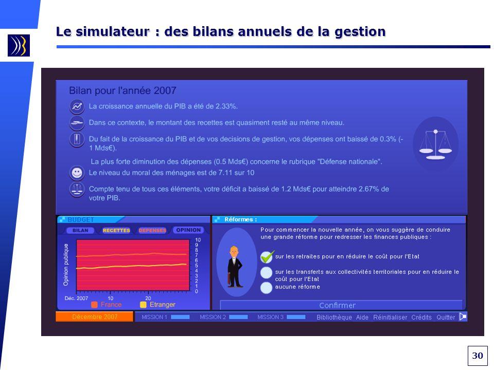 30 Le simulateur : des bilans annuels de la gestion