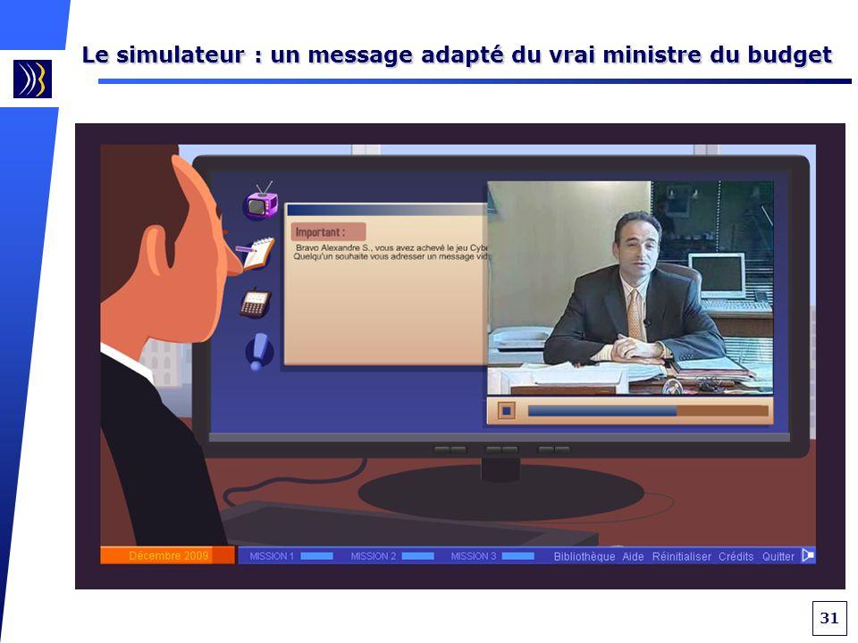 31 Le simulateur : un message adapté du vrai ministre du budget