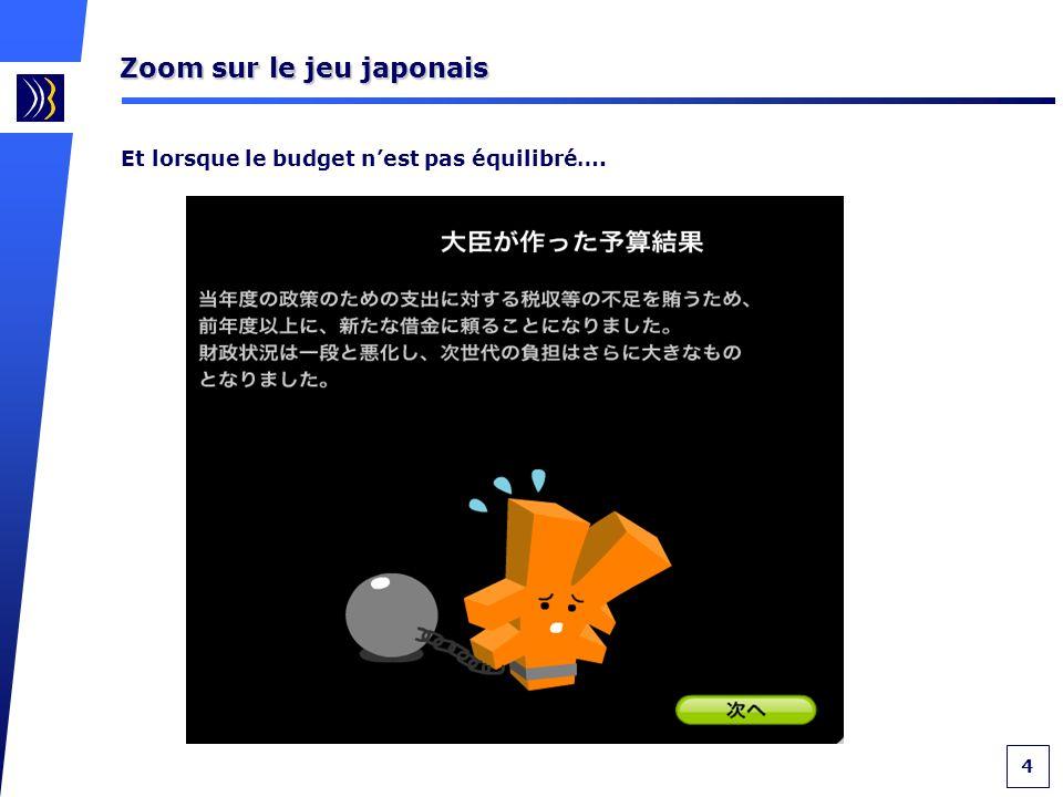 4 Zoom sur le jeu japonais Et lorsque le budget nest pas équilibré….