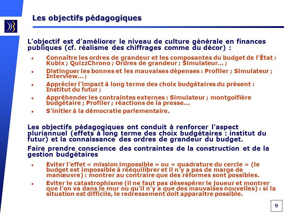 9 Les objectifs pédagogiques Lobjectif est daméliorer le niveau de culture générale en finances publiques (cf.