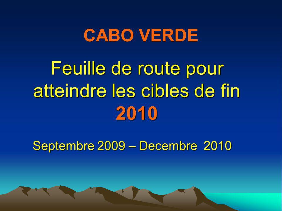 Feuille de route pour atteindre les cibles de fin 2010 Septembre 2009 – Decembre 2010 CABO VERDE