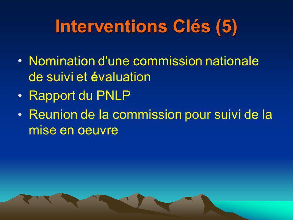 Interventions Clés (5) Nomination d une commission nationale de suivi et évaluation Rapport du PNLP Reunion de la commission pour suivi de la mise en oeuvre