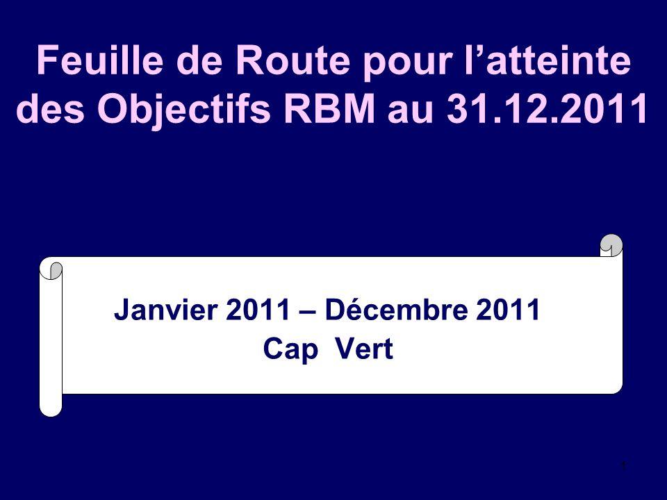 1 Feuille de Route pour latteinte des Objectifs RBM au 31.12.2011 Janvier 2011 – Décembre 2011 Cap Vert