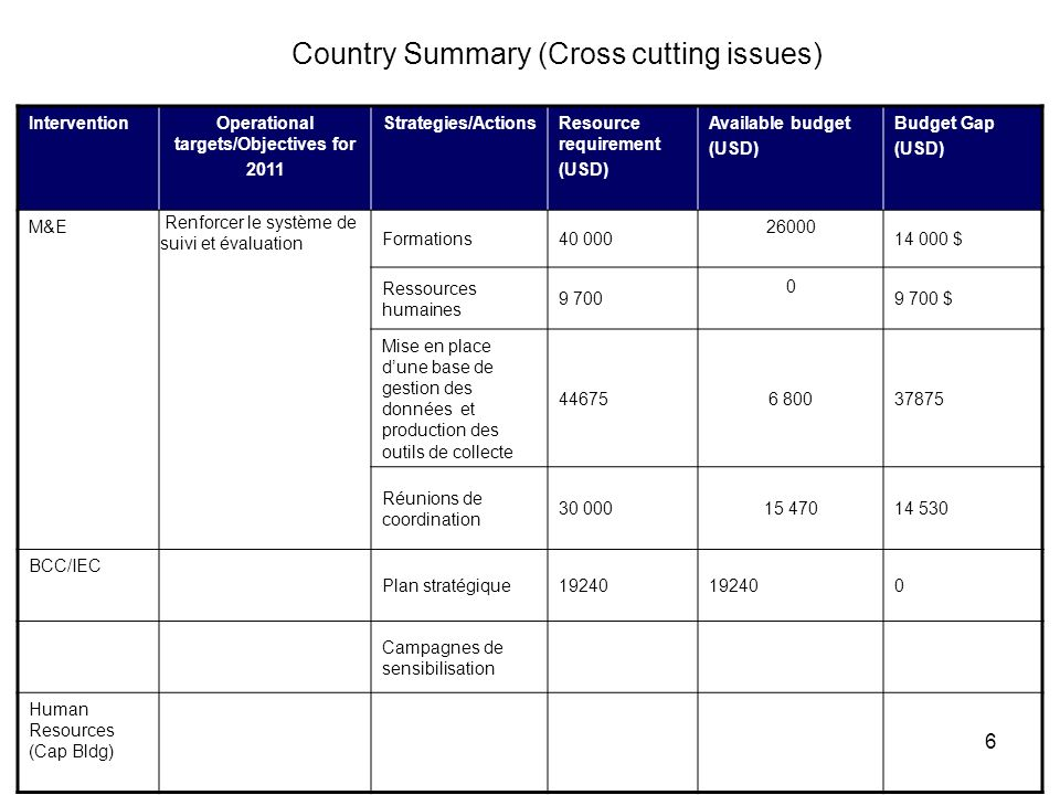 6 Country Summary (Cross cutting issues) InterventionOperational targets/Objectives for 2011 Strategies/ActionsResource requirement (USD) Available bu