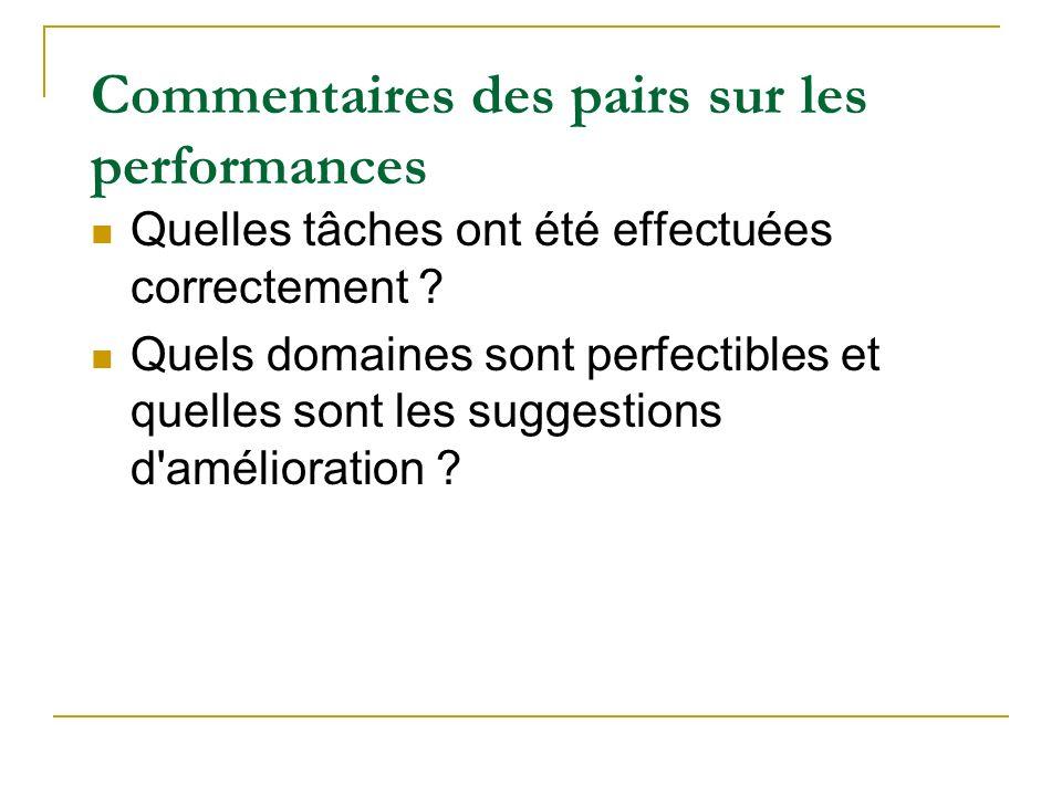 Commentaires des pairs sur les performances Quelles tâches ont été effectuées correctement ? Quels domaines sont perfectibles et quelles sont les sugg