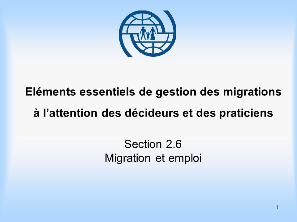 2 Eléments essentiels de gestion des migrations Section 2.6 Migration et emploi Objectifs dapprentissage Comprendre les principales composantes de la migration de main-dœuvre.