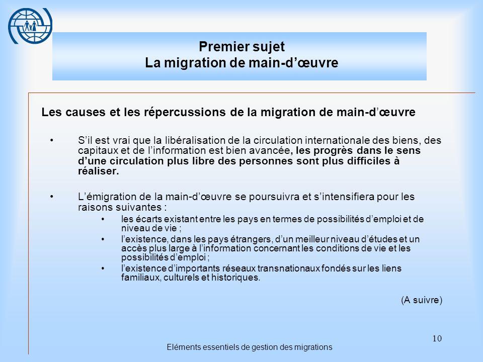 10 Eléments essentiels de gestion des migrations Premier sujet La migration de main-dœuvre Les causes et les répercussions de la migration de main-dœu