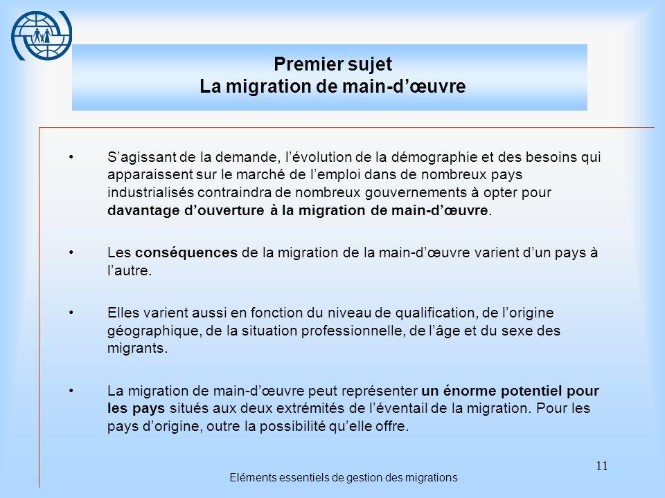 11 Eléments essentiels de gestion des migrations Premier sujet La migration de main-dœuvre Sagissant de la demande, lévolution de la démographie et de