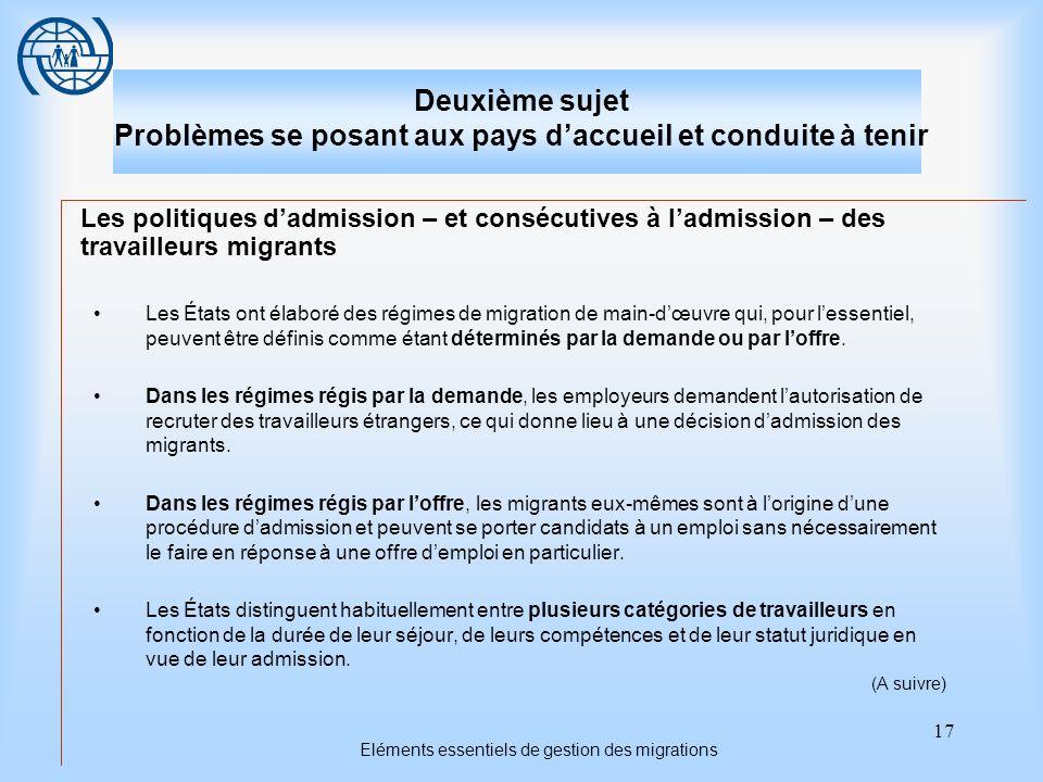 17 Eléments essentiels de gestion des migrations Deuxième sujet Problèmes se posant aux pays daccueil et conduite à tenir Les politiques dadmission –