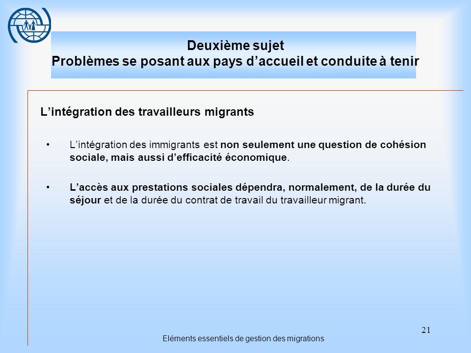 21 Eléments essentiels de gestion des migrations Deuxième sujet Problèmes se posant aux pays daccueil et conduite à tenir Lintégration des travailleurs migrants Lintégration des immigrants est non seulement une question de cohésion sociale, mais aussi defficacité économique.